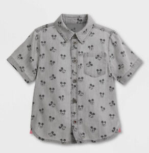 Mickey Mouse Grayscale Woven Shirt