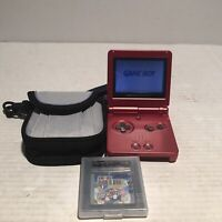 Nintendo Gameboy Advance SP Red Ags-001 Tested And Working With Super Mario Bros