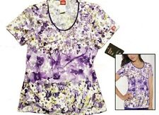 NEW Dickies Scrub Top Purple Flowered Floral Textured Beauty Sz S 82754C TXBU