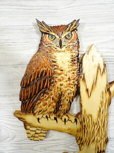 Hand Carved GREAT HORNED OWL Wall Art Chainsaw Hoot Tiger Owl Wood Carving