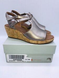 Clarks Unstructured Women Un Plaza Way Wedge Sandal Gold Metallic Leather US 10M