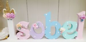 Floral sleepy unicorn girls freestanding wooden 15cm any 6 letters name gift
