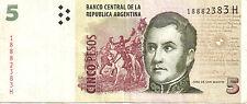 Argentina: 5 Pesos Type Jose de San Martin VF