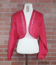 Vintage JM Shelli Segal Womens Size 12 Hot Pink Cropped Linen Bolero Jacket