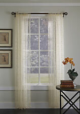 """Gossamer Embroidered Sheer Curtain Panel, Ivory, 84"""" Length, by Suntex"""