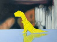 "Original Oil Painting Framed Dinosaur Art, Origami Paper T-Rex, 18x24"""