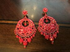 DUBLOS SPAIN LARGE RED FLORAL DROP EARRINGS