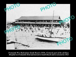 OLD POSTCARD SIZE PHOTO OF FREMANTLE WA HYDRODOME ON THE SOUTH BEACH c1930s