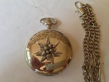 C21 Small Edelweiss  polished silver case mens GIFT quartz pocket watch fob