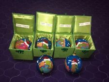6 Pier1 Li Bien Reverse Painted Glass Christmas Ornament Merry Fishmas Seahorse