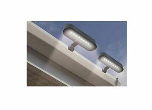 LED Dachrinnenleuchte 2 Stück Solarleuchten 8 LEDs kaltweiß 20x11cm Dachrinne