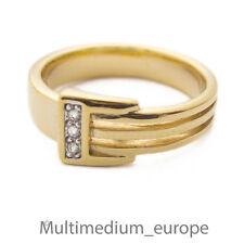 Pierre Lang Ring Strass massiv vergoldet signiert gilt paste