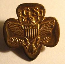 Vintage Girl Scout Lapel Pin - Old Eagle Girl Scouts Membership Gold Badge Pin