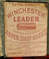 PRIMITIVE ANTIQUE VINTAGE WINCHESTER GUN AMMO ADVERTISING PRINT ON CANVAS 8 X 10