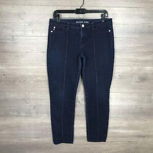 Michael Kors Women's Size 8 Skinny Jegging Jeans Dark Wash Pintuck Front