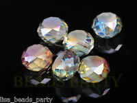 10pcs 12mm Drum Faceted Charms Crystal Glass Bead Loose Spacer Beads Rose Green