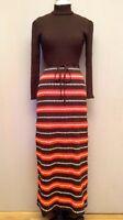 VTG 70s Knit Crochet Maxi Sheath Mod Retro Stretch Dress Orange Brown Boho XS/S