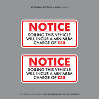 Minimum Soiling Charge £50 Sticker Ideal For Taxi Coach Bus Minibus - SKU3137