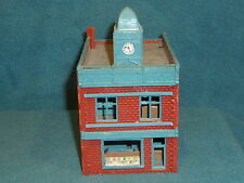 HO SCALE TRAIN RACE CAR LAYOUT BUILDING WITH CLOCK TOWER TYCO POLA W. GERMANY