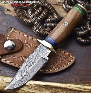 Handmade Damascus Steel Blade Miniature Knife   HARD WOOD