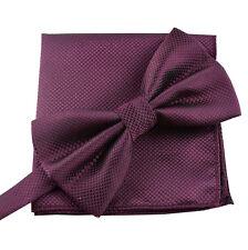 Bow tie bound Set with Handkerchief Modern Wedding Pattern Check Blue Black