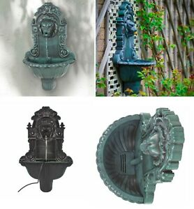 Lion Head Bird Bath Water Pump Feature Fountain Antique Green Wall Mounted Pond