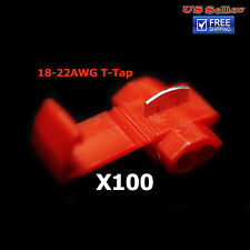 100x Red 22-18 AWG Scotch Lock T Tap Car Audio Electronics Connectors Terminals