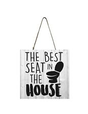 Best Seat in the House Funny Bathroom Printed Handmade Wood Mini Small Sign
