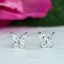 0.35 Ct White Marquise & Round Cut Butterfly Stud Earrings in Solid 925 Silver
