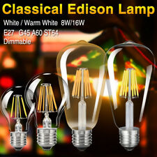 E27 E26 110V/220V 8/16W Dimmable Edison LED Filament Bulbs Vintage Lights Lamps