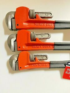 3PC PIPE WRENCH HD W/ DIPPED HANDLE ADJUSTABLE SPANER  8'' 10'' 12'' FREE SHIP