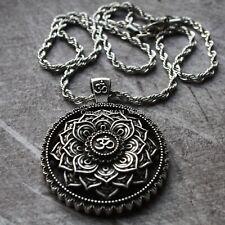 Collar Om Mandala Colgante Plata Buda Budista Acero 3 mm Cadena De Flor De Loto