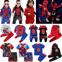 Kids Boys Spiderman Tracksuit Hoodies Sweatshirt Jacket Tops + Pants Outfits Set