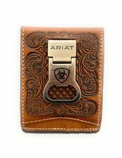 Mens Leather Bifold Money Clip - Tan Baksetweave and Floral Embossed With