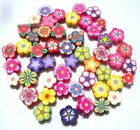 50 MIXED FIMO POLYMER FLOWER BEADS - ALL VARIETIES - QUICK SHIPMENT