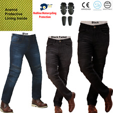 Motorbike Motorcycle Denim Jeans Trousers Biker With CE Armour Protection Aramid