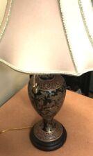 Vintage Bombay Company Porcelain Table Lamp Ornate Design Red Black Gold Shade