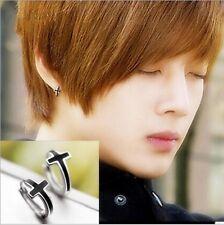 Korean Men's Simple Black Cross High Quality Silver Charming Stud Earrings