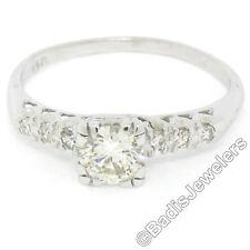 VINTAGE 14K ORO BIANCO .70ctw tradizionale diamante tagliato