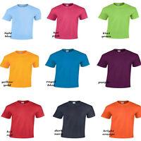 Kids Boys Girls T.shirts Short Sleeves Gildan Plain Colours Crew Neck Tops,4-12y