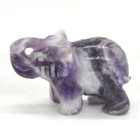 "1.5"" Elephant Figurine Amethyst Healing Stone Carving Statue Gemstone Decor Gift"