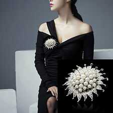 SILVER PLATED RHINESTONE CRYSTAL FAUX PEARL DIAMANTE BROOCH WEDDING BRIDAL GIFT