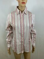 Faconnable Women's Pink Striped Button Front Long Sleeve Blouse Size Medium