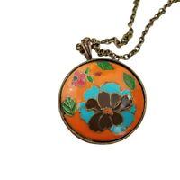 Orange Floral Necklace Pendant Gold Tone Long Chain Blue Enamel Cloisonne