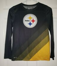 PITTSBURGH STEELERS NFL NIKE DRI-Fit black Gold Logo poly Stretch Tee. Youth M