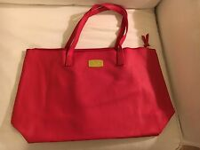 JOY Mangano Genuine Leather Tote Bag w/ RFID Clutch, Laptop Bag, Regal Red - new
