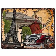 PP0783 Paris Classic Old Car Chic Plate Sign Home Shop Restaurant Cafe Decor
