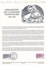 Document philatélique 25-84 1er jour 1984 Monastère de La Grande Chartreuse