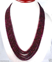 5 STRAND 2X4MM FACETED RED RUBY GEMSTONE BEADS NECKLACE 17-21""