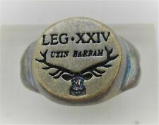 Roma Antigua Bronce Plateada legionario Sello Anillo de la pierna XXIV